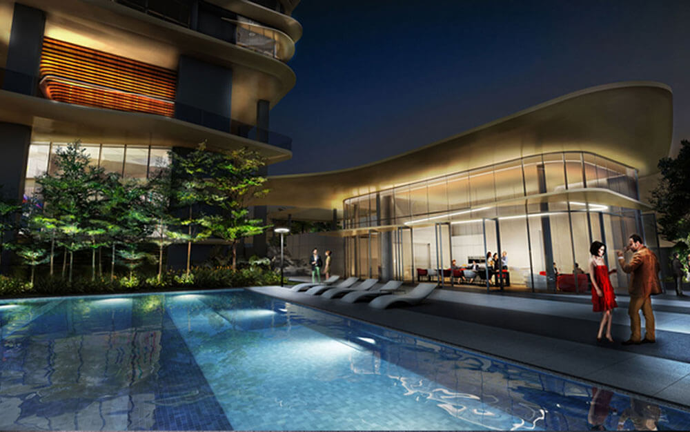 An artist's impression of New Futura's pool-side