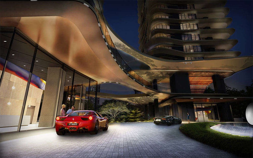 An artist's impression of New Futura's circular driveway