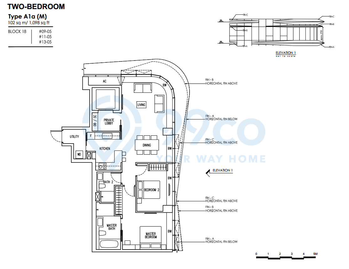 Two-bedroom A1a floor plan for New Futura