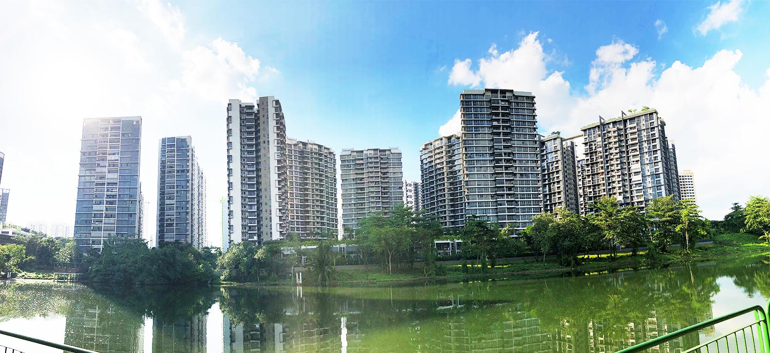 Artist's impression of the condo from across Sungei Punggol