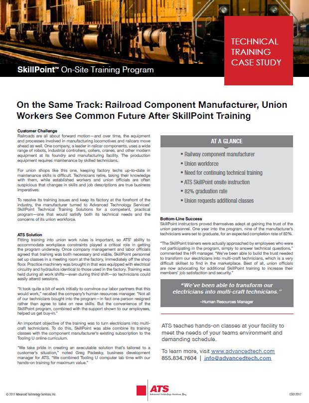 On the Same Track: Railroad Component Manufacturer, Union Workers See Common Future After SkillPoint Training