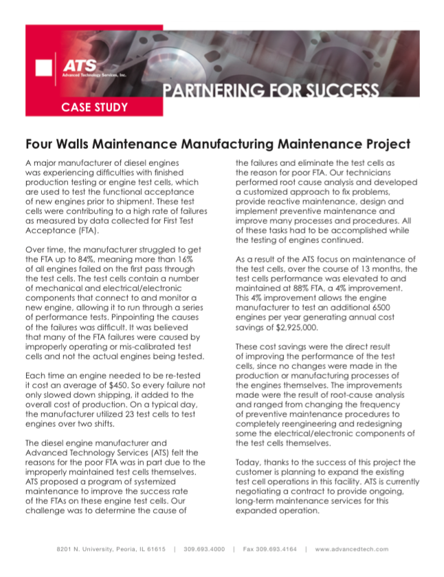 Four Wall Maintenance Manufacturing Maintenance Project