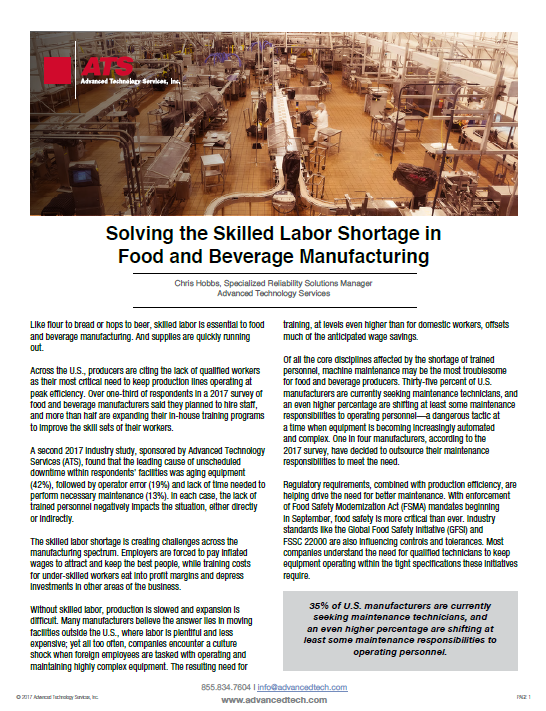 Solving the Skilled Labor Shortage in Food and Beverage Manufacturing