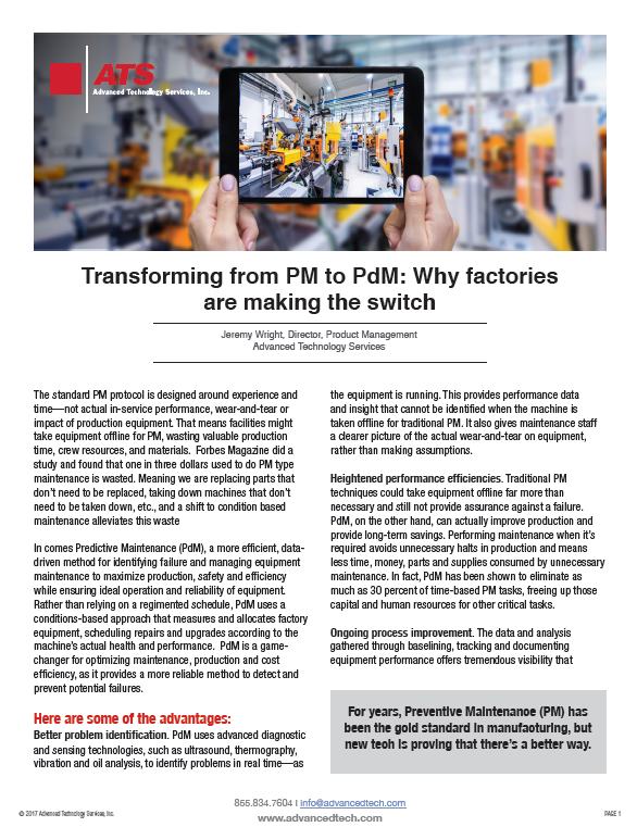 Transforming from PM to PdM: Why Factories are Making the Switch
