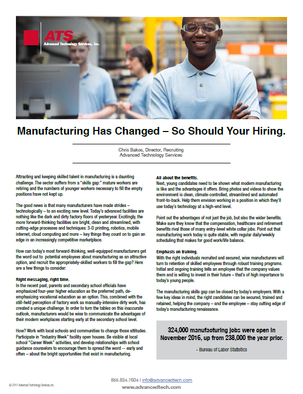 Manufacturing Has Changed - So Should Your Hiring