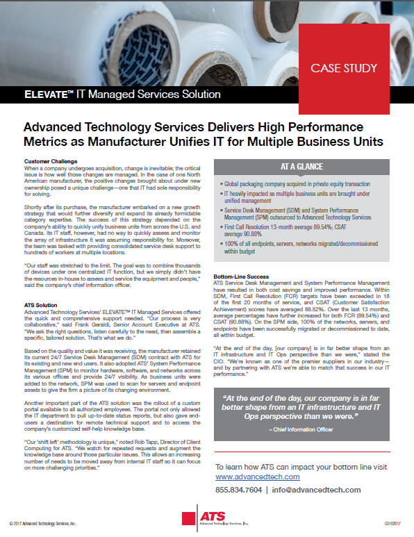 ATS Delivers High Performance Metrics as Manufacturer Unifies IT for Multiple Business Units