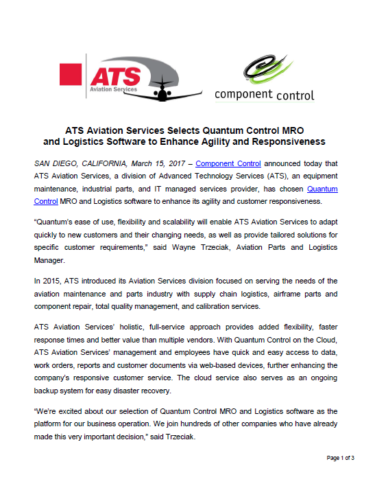 ATS Aviation Services Selects Component Control