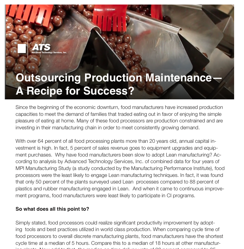 Outsourcing Production Maintenance - A Recipe for Success?