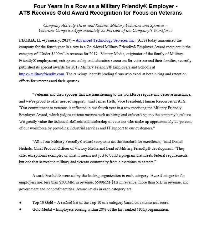 GI Jobs Military Friendly Employer Award 2017