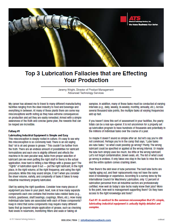Top 3 Lubrication Fallacies that are Effecting Your Production