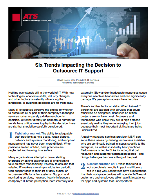 Six Trends Impacting the Decision to Outsource IT Support