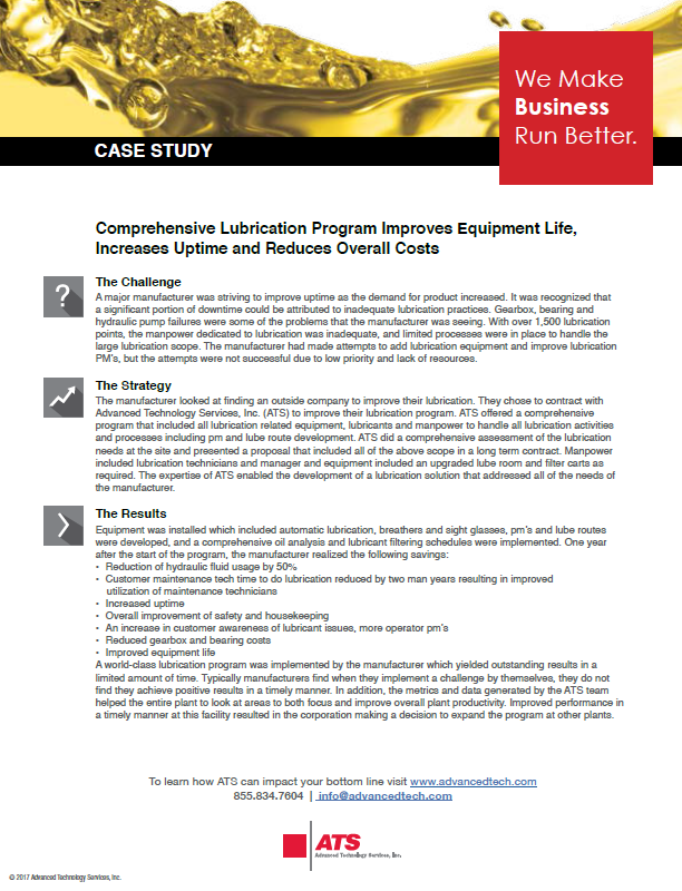 Comprehensive Lubrication Program Improves Equipment Life, Increases Uptime and Reduces Overall Costs