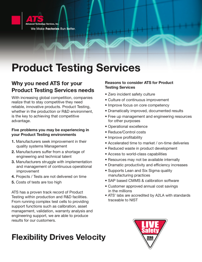 Product Testing Services brochure