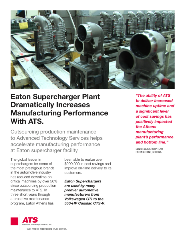 Eaton Supercharger Plant Dramatically Increases Manufacturing Performance with ATS
