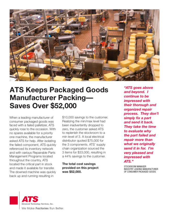 ATS Keeps Packaged Goods Manufacturer Packing - Saves Over $52,000