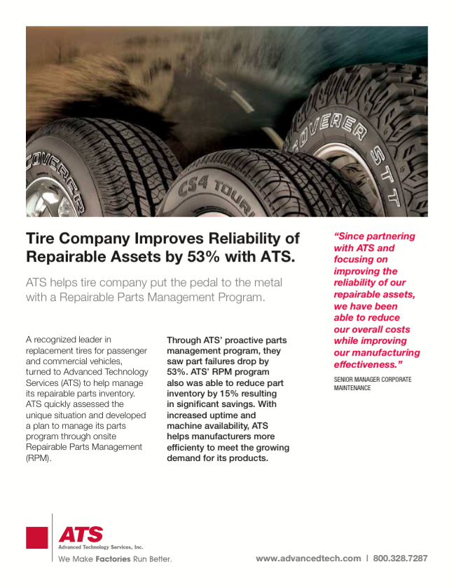 Tire Company Improves Reliability of Repairable Assets By 53% with ATS