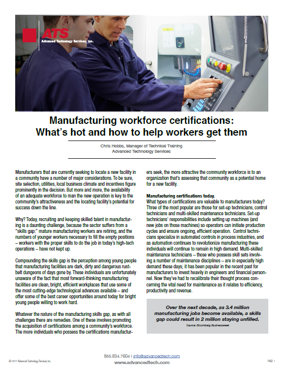 Manufacturing workforce certifications: What's hot and how to help workers get them