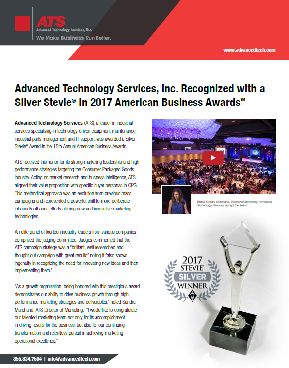 ATS Recognized with a Silver Stevie in 2017 American Business Awards