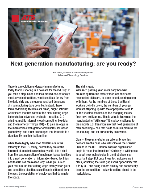 Next-generation manufacturing: Are you ready?