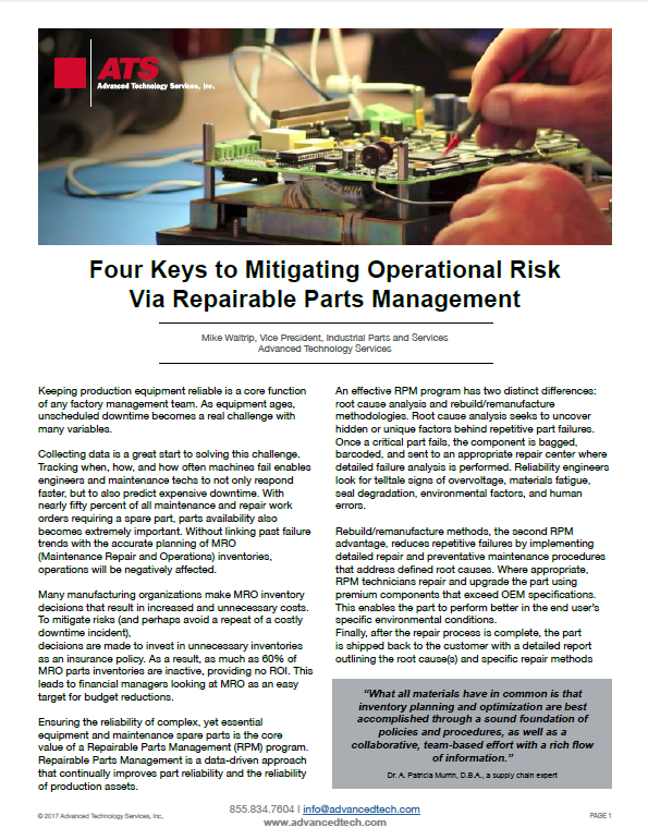 Four Keys to Mitigating Operational Risk Via Repairable Parts Management