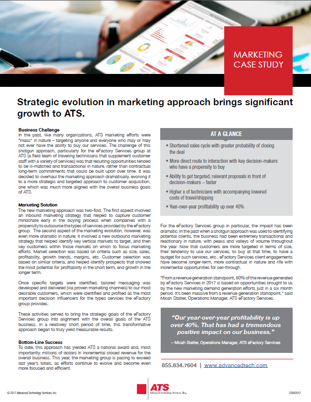 Strategic evolution in marketing approach brings significant growth to ATS