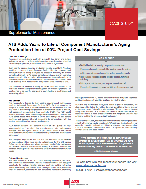 ATS Adds Years to Life of Component Manufacturer's Aging Production Line at 90% Project Cost Savings