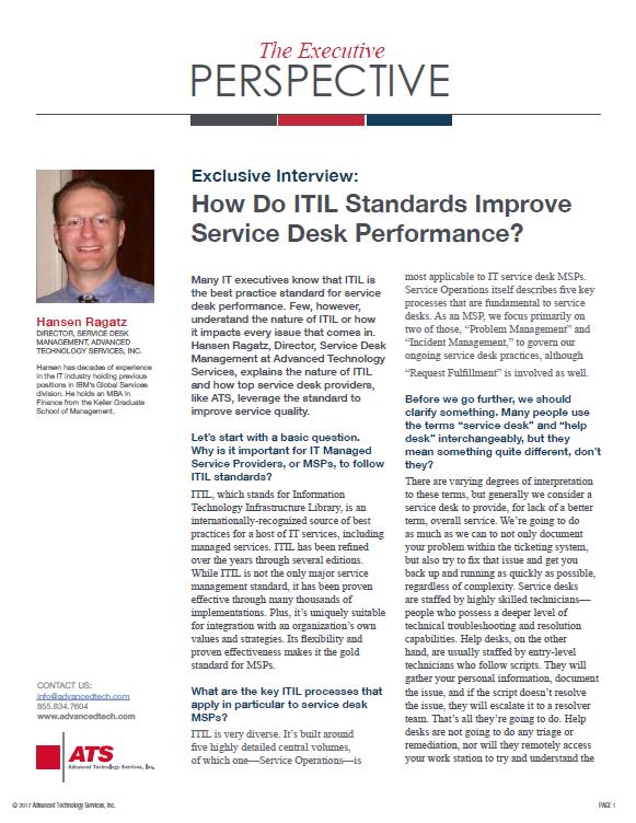 Q&A with Hansen Ragatz: How Do ITIL Standards Improve Service Desk Performance?