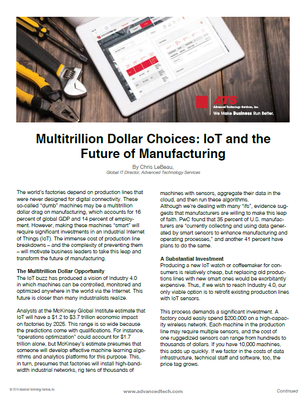 Multitrillion Dollar Choices: IoT and the Future of Manufacturing