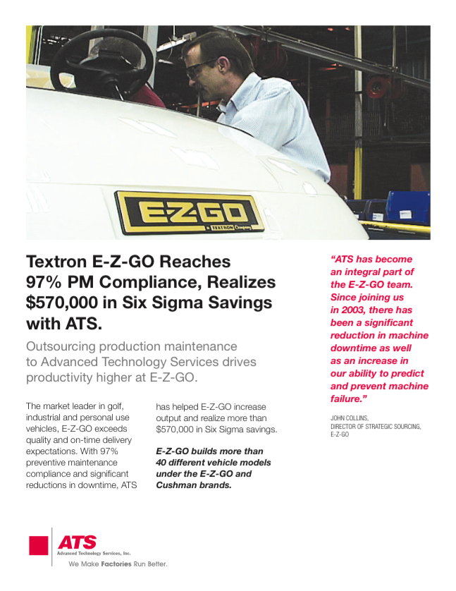 Textron E-Z-Go Reaches 97% PM Compliance, Realizes $570,000 in Six Sigma Savings with ATS