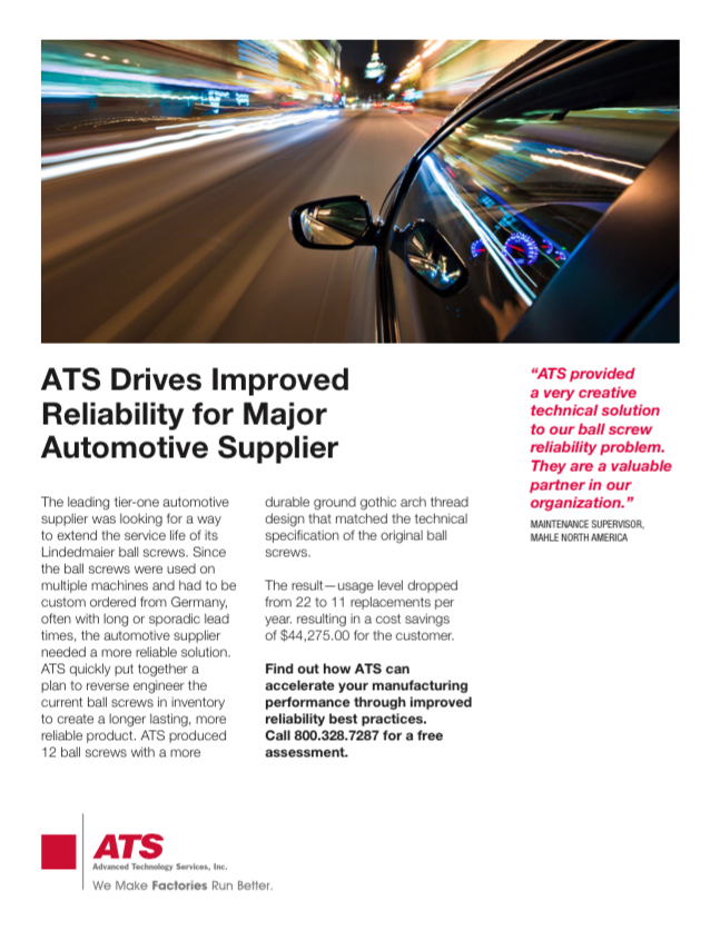 ATS Drives Improved Reliability for Major Automotive Supplier