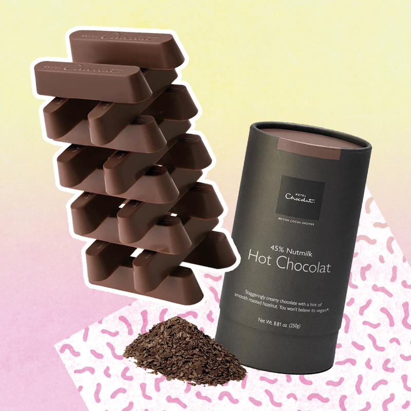 Hotel chocolat nut milk bars and hot chocolate collage