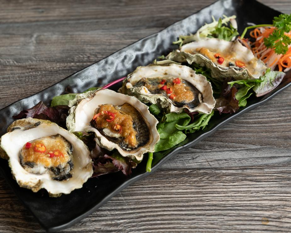 oysters on a table