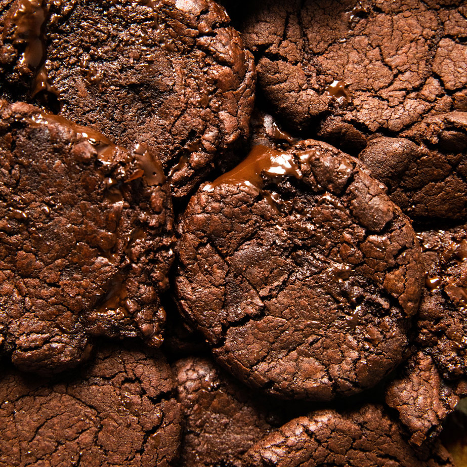 close up of brownie cookies
