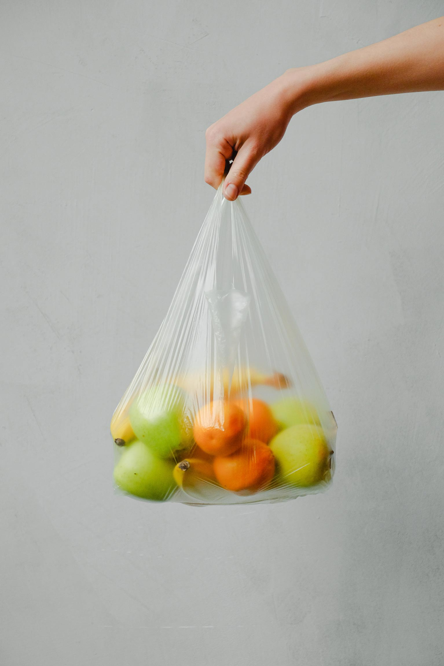 fruit in plastic bag