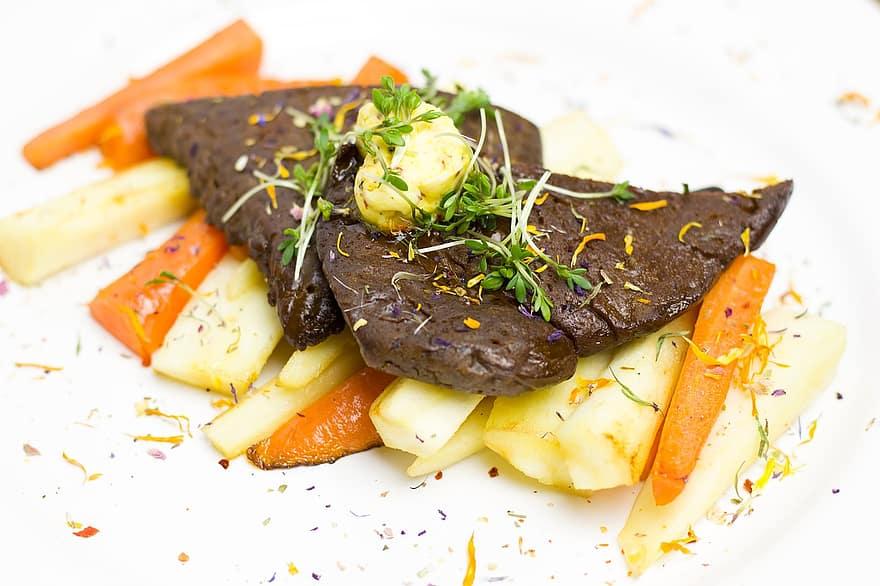 vegan seitan schnitzel with vegetables