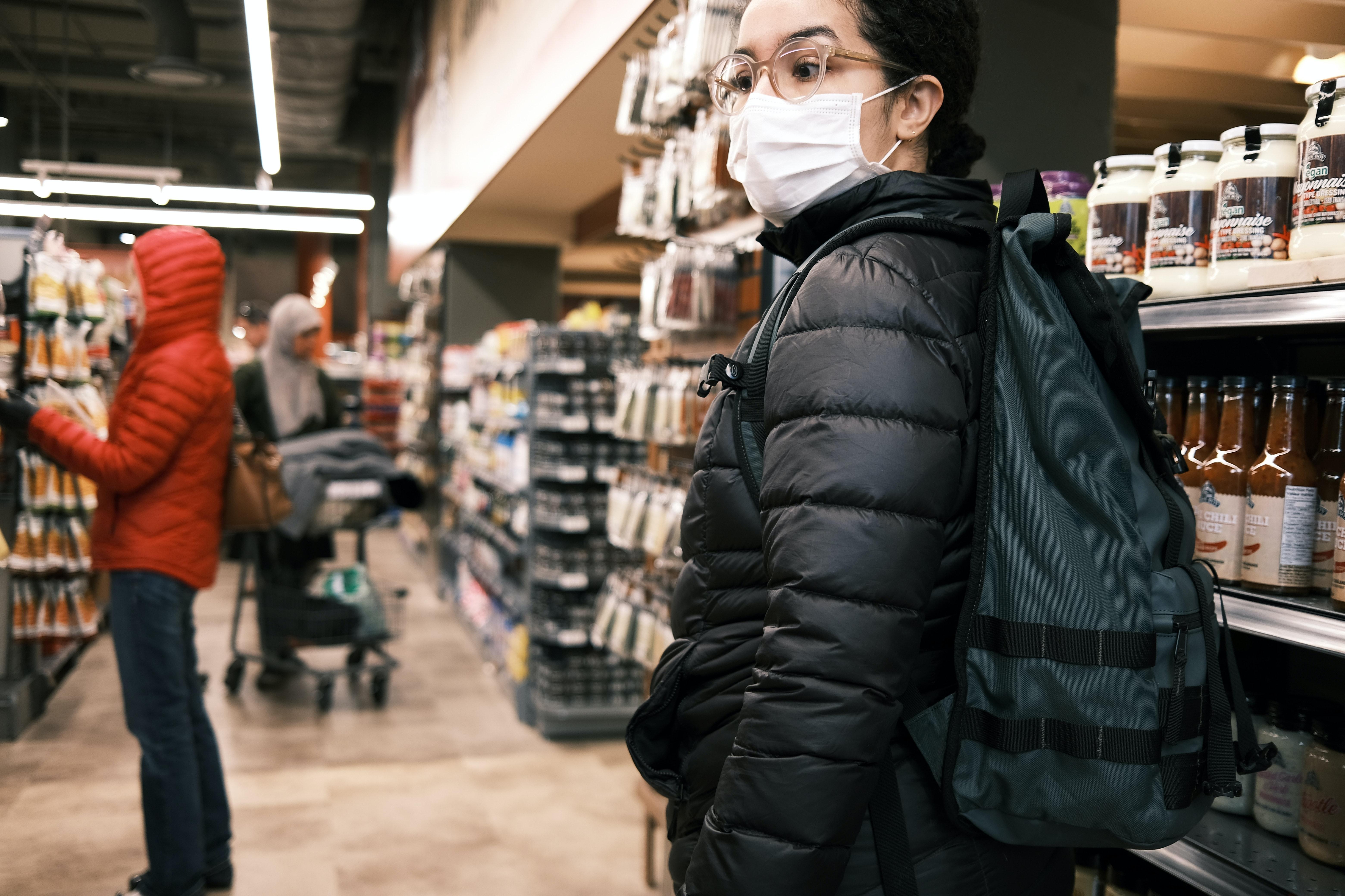 shopper wearing a facemask