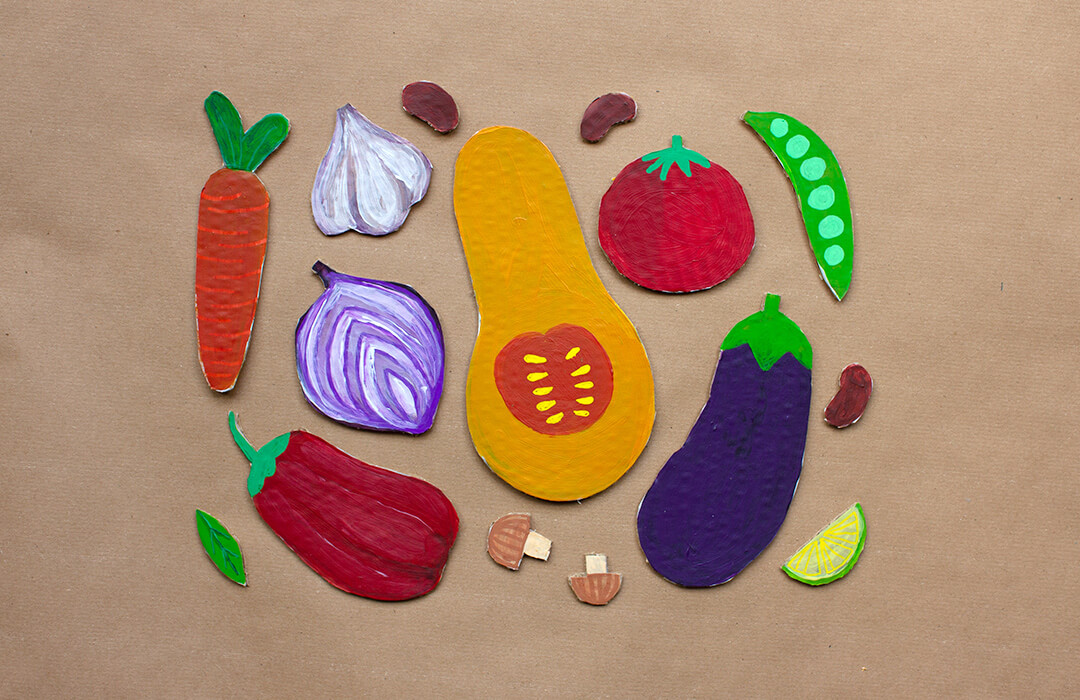 cardboard cut outs of vegetables