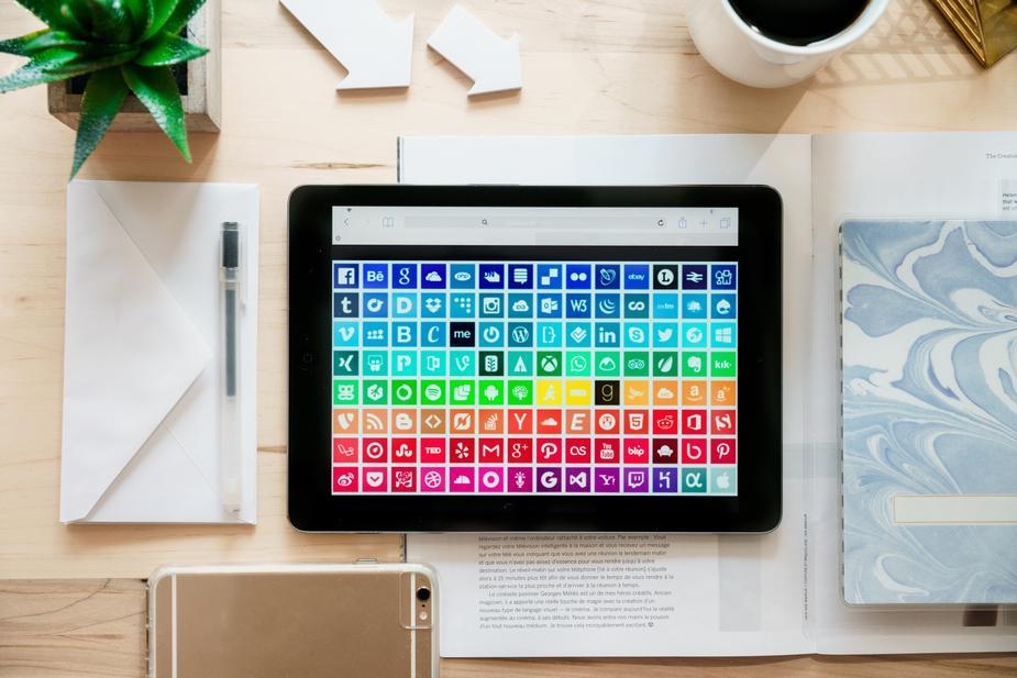 social media apps on a tablet