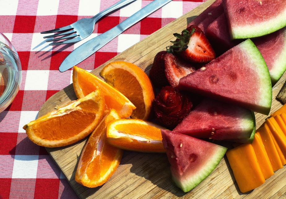 fruit platter at picnic
