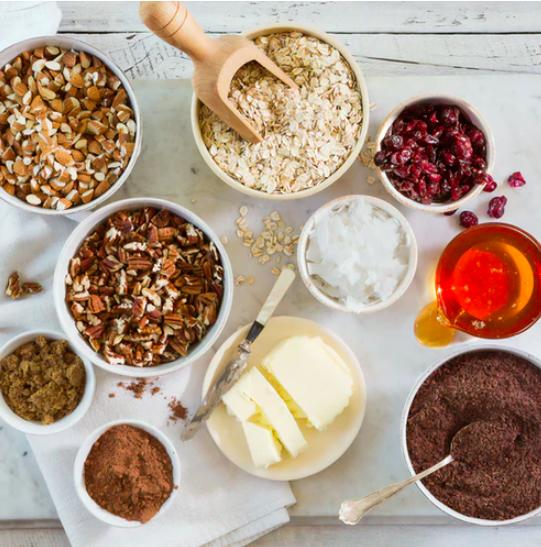 vegan baking ingredients flat lay