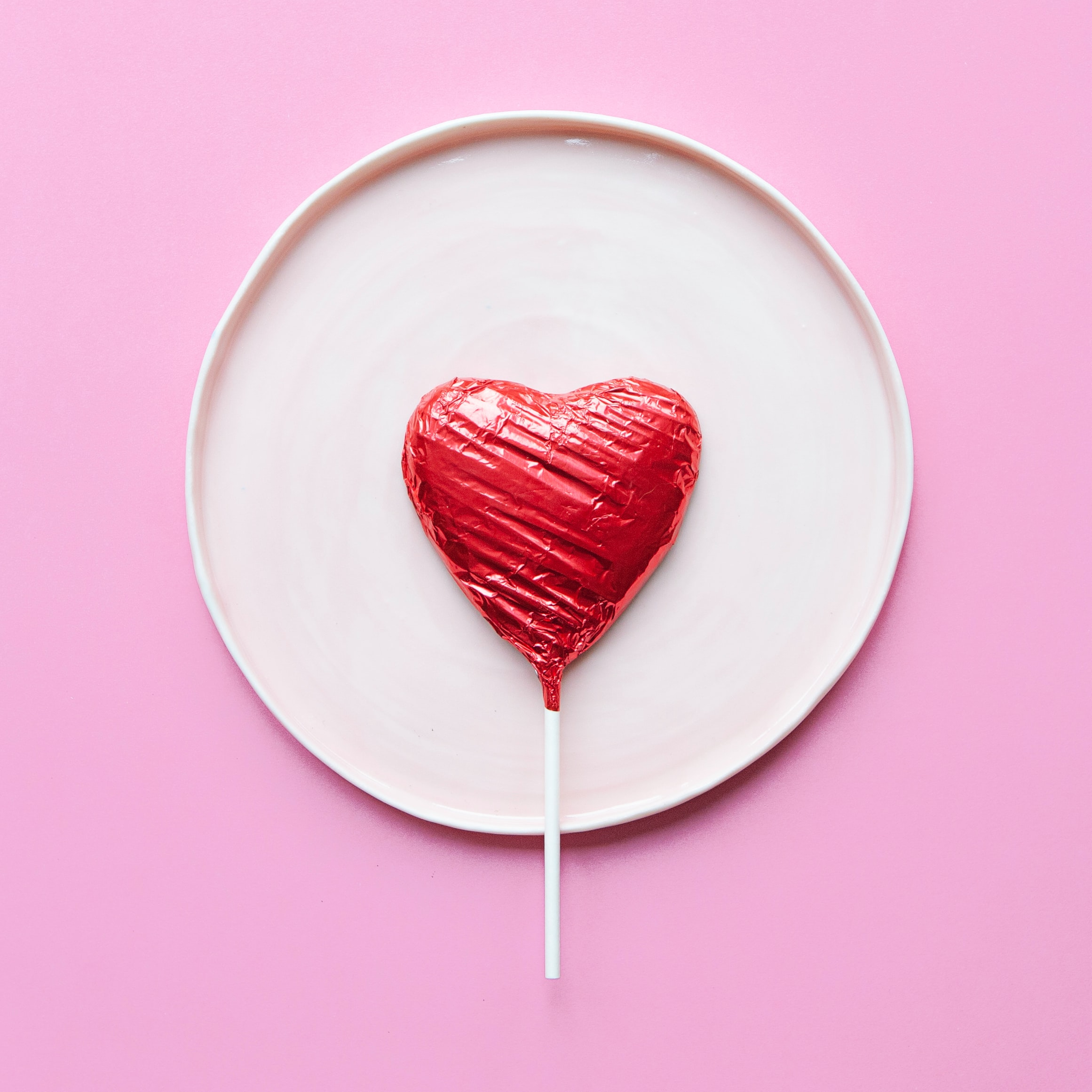 chocolate hearty lolly on plate
