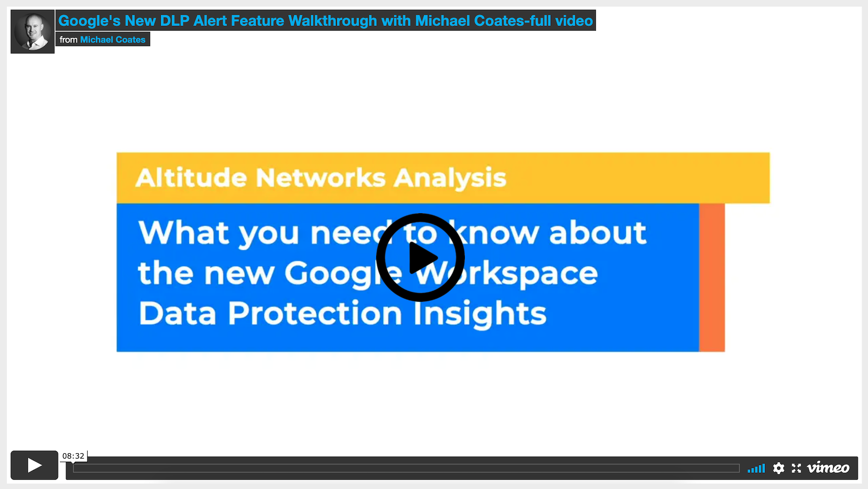 This video will give you a sneak peak into the new Drive DLP Data Protection Insights services provided by Google today.