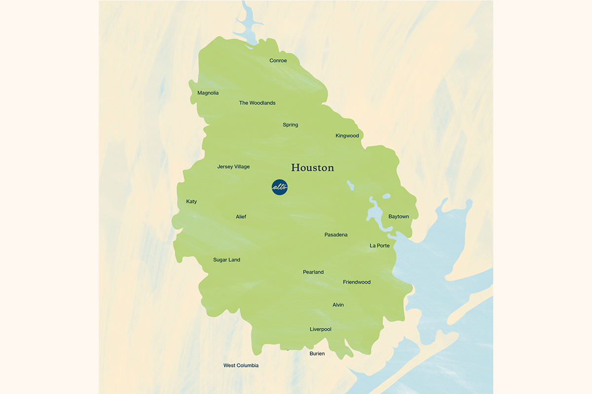 Alto's free same-day courier service zone covers the greater Houston metro area.