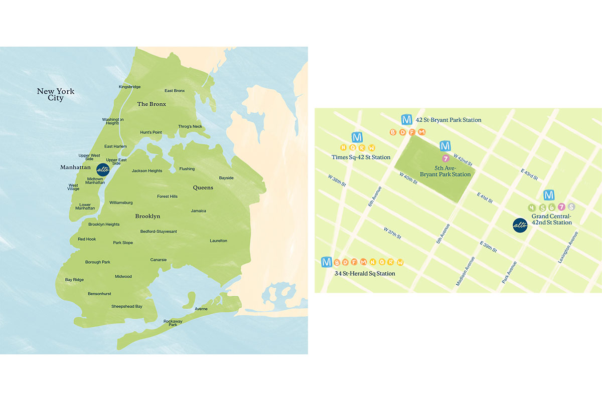 Alto's same-day courier delivery zone; our midtown Manhattan pharmacy location is easily accessible by transit.