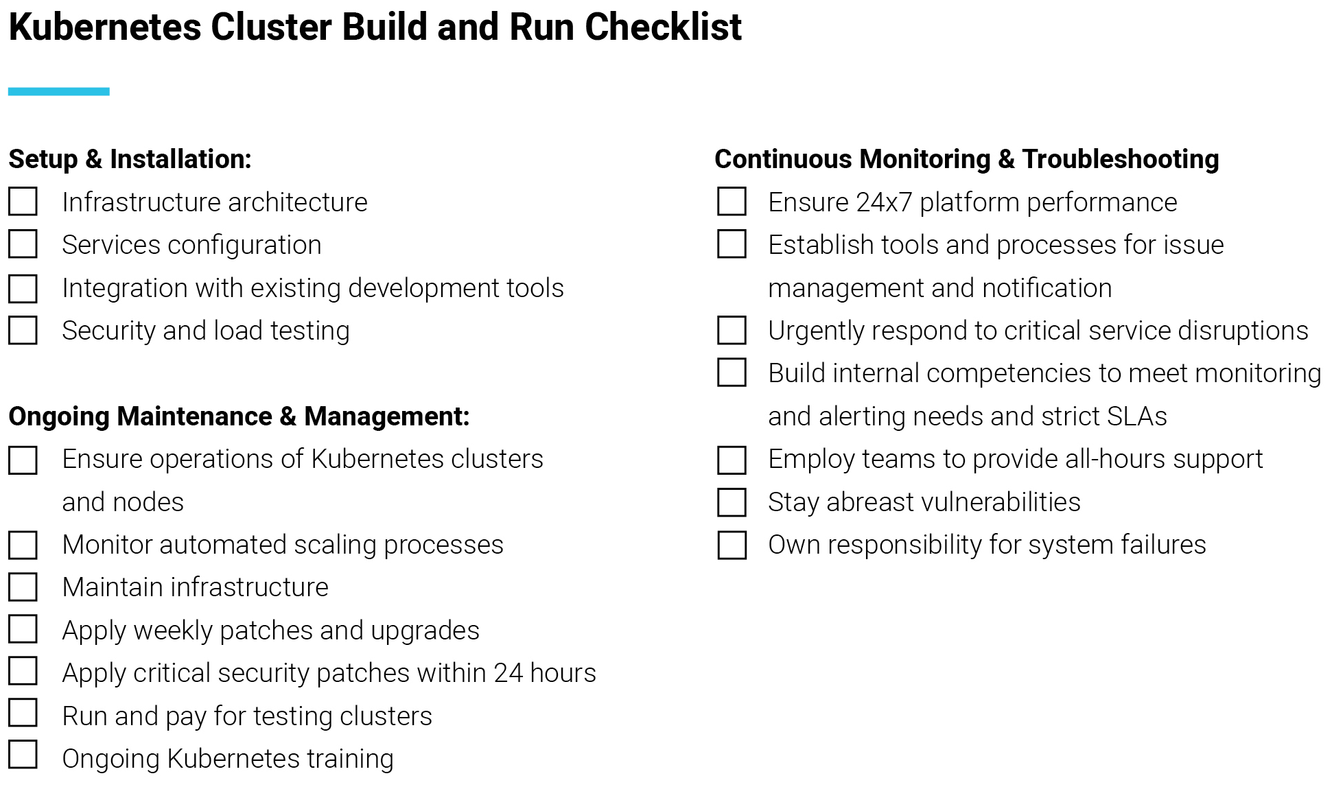 Kubernetes build and deploy checklist