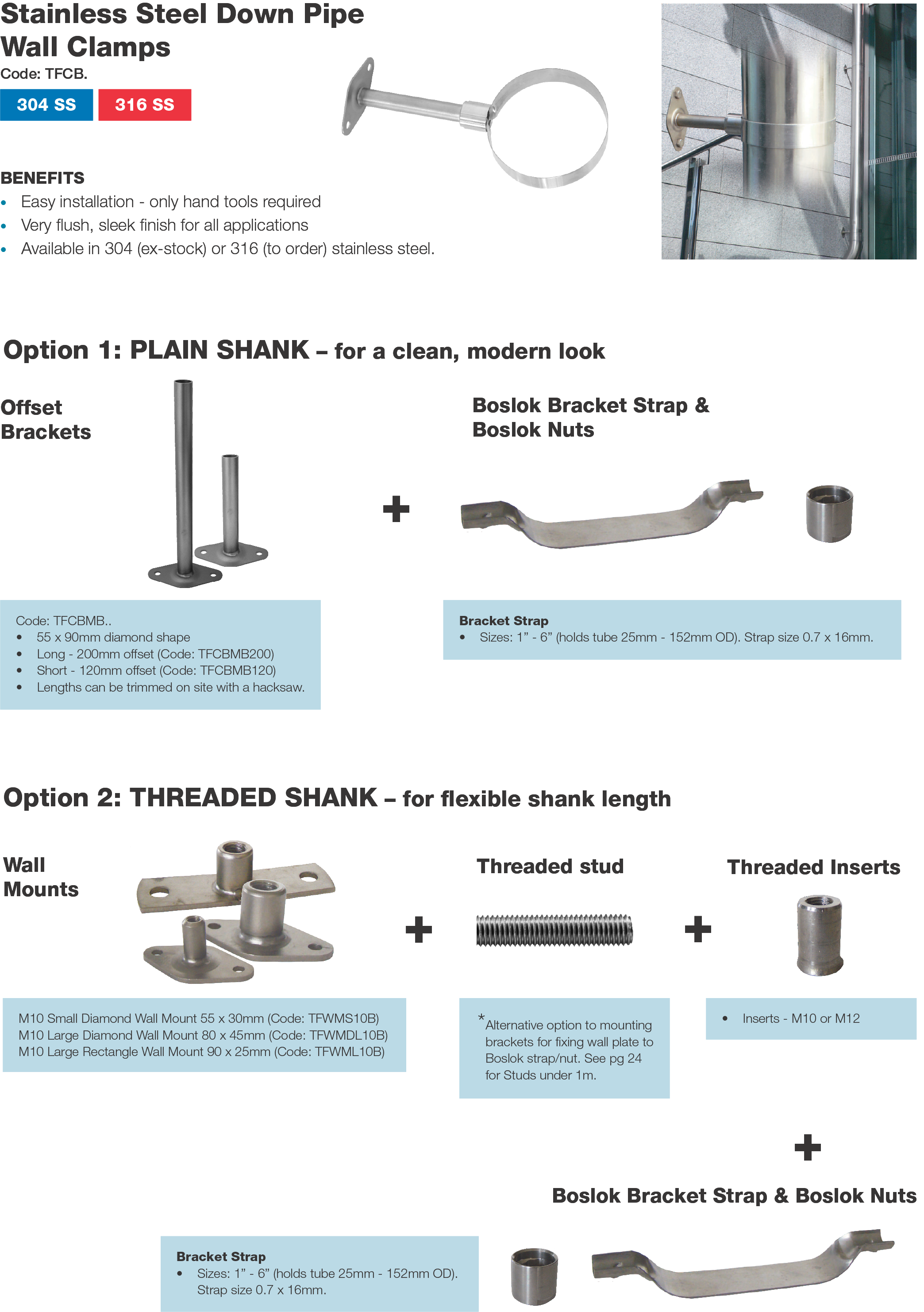 Anzor Stainless Downpipe Wall Clamp Options
