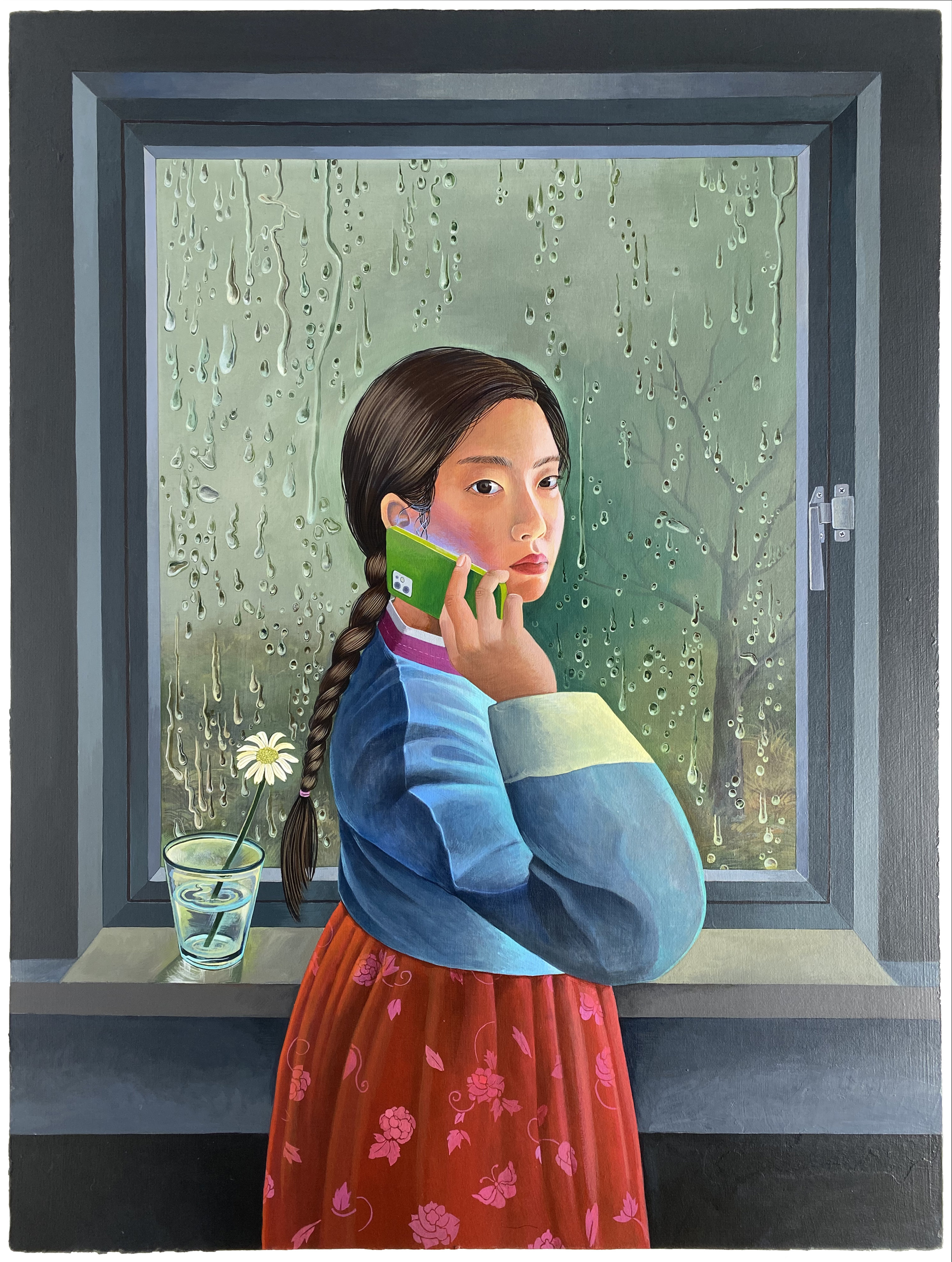 SALLY J. HAN - A Call, 2021 - Acrylic paint on paper mounded on wood panel 30 x 40 in 76.2 x 101.6 cm