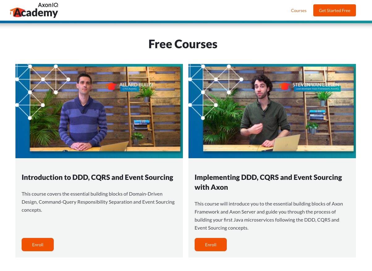 Webpage listing the free courses