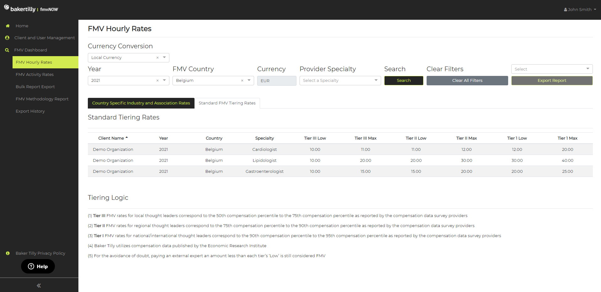 Hourly Rates for Fair Market Value (FMV) tool