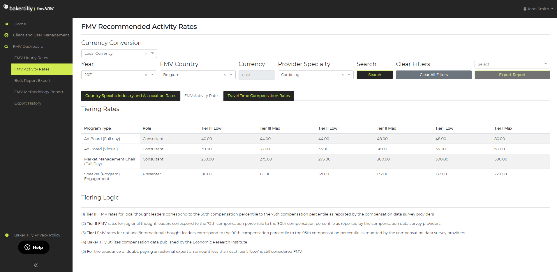FMV Recommended Activity Rates for Fair Market Value (FMV) tool